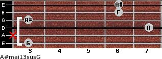 A#maj13sus/G for guitar on frets 3, x, 7, 3, 6, 6