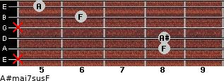 A#maj7sus/F for guitar on frets x, 8, 8, x, 6, 5
