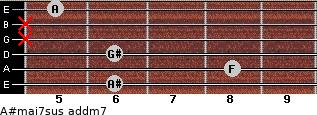 A#maj7sus add(m7) for guitar on frets 6, 8, 6, x, x, 5