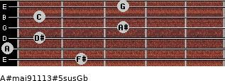 A#maj9/11/13#5sus/Gb for guitar on frets 2, 0, 1, 3, 1, 3