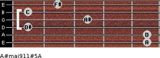A#maj9/11#5/A for guitar on frets 5, 5, 1, 3, 1, 2