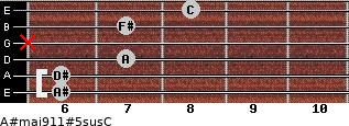 A#maj9/11#5sus/C for guitar on frets 6, 6, 7, x, 7, 8
