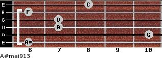 A#maj9/13 for guitar on frets 6, 10, 7, 7, 6, 8