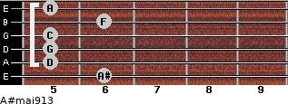 A#maj9/13 for guitar on frets 6, 5, 5, 5, 6, 5