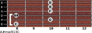 A#maj9/13/C for guitar on frets 8, 10, 8, 10, 10, 10