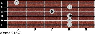 A#maj9/13/C for guitar on frets 8, 8, 8, 7, 8, 5