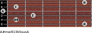 A#maj9/13b5sus/A for guitar on frets 5, 1, 2, 0, 1, 5