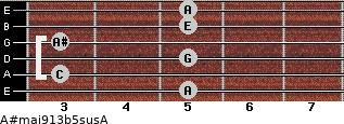 A#maj9/13b5sus/A for guitar on frets 5, 3, 5, 3, 5, 5