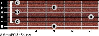 A#maj9/13b5sus/A for guitar on frets 5, 3, 7, 3, 5, 3
