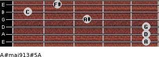 A#maj9/13#5/A for guitar on frets 5, 5, 5, 3, 1, 2