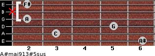 A#maj9/13#5sus for guitar on frets 6, 3, 5, 2, x, 2