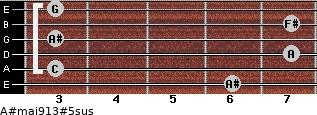 A#maj9/13#5sus for guitar on frets 6, 3, 7, 3, 7, 3