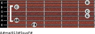 A#maj9/13#5sus/F# for guitar on frets 2, 1, 5, 5, 1, 5