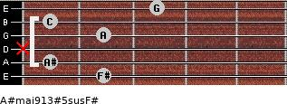 A#maj9/13#5sus/F# for guitar on frets 2, 1, x, 2, 1, 3