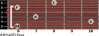 A#maj9/13sus for guitar on frets 6, 10, 7, x, 6, 8