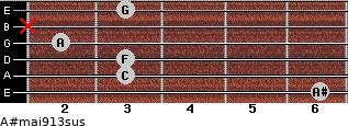 A#maj9/13sus for guitar on frets 6, 3, 3, 2, x, 3