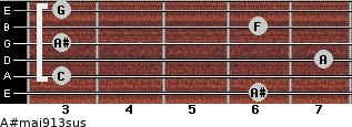 A#maj9/13sus for guitar on frets 6, 3, 7, 3, 6, 3