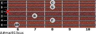 A#maj9/13sus for guitar on frets 6, 8, 7, x, 8, 8