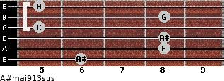 A#maj9/13sus for guitar on frets 6, 8, 8, 5, 8, 5