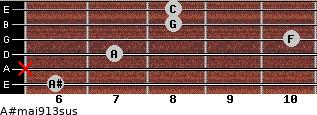 A#maj9/13sus for guitar on frets 6, x, 7, 10, 8, 8