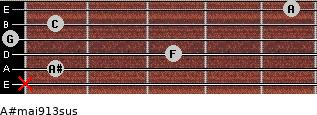 A#maj9/13sus for guitar on frets x, 1, 3, 0, 1, 5