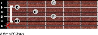 A#maj9/13sus for guitar on frets x, 1, 3, 2, 1, 3