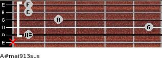 A#maj9/13sus for guitar on frets x, 1, 5, 2, 1, 1