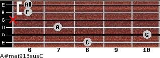 A#maj9/13sus/C for guitar on frets 8, 10, 7, x, 6, 6