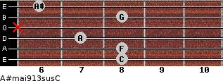 A#maj9/13sus/C for guitar on frets 8, 8, 7, x, 8, 6