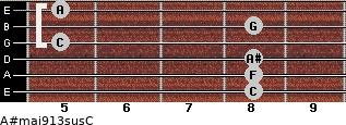 A#maj9/13sus/C for guitar on frets 8, 8, 8, 5, 8, 5