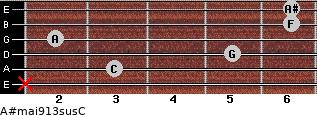 A#maj9/13sus/C for guitar on frets x, 3, 5, 2, 6, 6