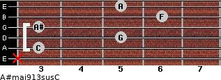 A#maj9/13sus/C for guitar on frets x, 3, 5, 3, 6, 5