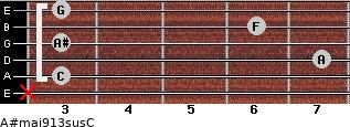 A#maj9/13sus/C for guitar on frets x, 3, 7, 3, 6, 3
