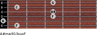A#maj9/13sus/F for guitar on frets 1, 0, 3, 3, 1, 3