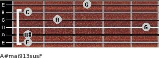 A#maj9/13sus/F for guitar on frets 1, 1, 5, 2, 1, 3