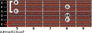 A#maj9/13sus/F for guitar on frets x, 8, 8, 5, 8, 5