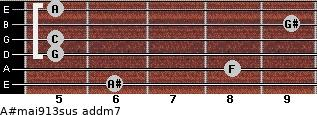 A#maj9/13sus add(m7) for guitar on frets 6, 8, 5, 5, 9, 5