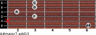 A#major7(add13) for guitar on frets 6, x, 3, 2, 3, 3