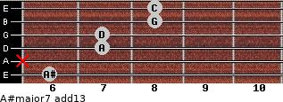 A#major7(add13) for guitar on frets 6, x, 7, 7, 8, 8