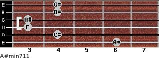 A#min7/11 for guitar on frets 6, 4, 3, 3, 4, 4