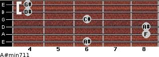 A#min7/11 for guitar on frets 6, 8, 8, 6, 4, 4