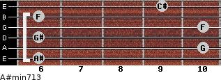 A#min7/13 for guitar on frets 6, 10, 6, 10, 6, 9
