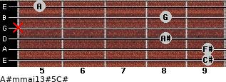 A#m(maj13)#5/C# for guitar on frets 9, 9, 8, x, 8, 5