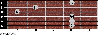A#sus2/C for guitar on frets 8, 8, 8, 5, 6, 8