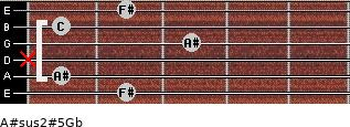 A#sus2(#5)/Gb for guitar on frets 2, 1, x, 3, 1, 2