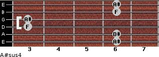 A#sus4 for guitar on frets 6, 6, 3, 3, 6, 6