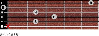 Asus2(#5)/B for guitar on frets x, 2, 3, 2, 0, 5