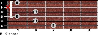B+9 for guitar on frets 7, 6, 5, 6, x, 5
