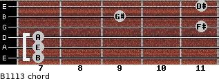 B11/13 for guitar on frets 7, 7, 7, 11, 9, 11