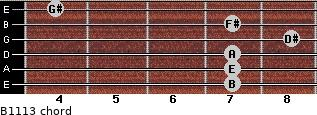 B11/13 for guitar on frets 7, 7, 7, 8, 7, 4